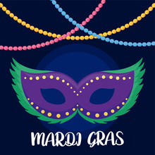 Mardi Gras Mask With Necklaces...