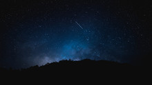 Beautiful Night Sky With Milky Way Between Lot Of Star And Meteor On February 2020