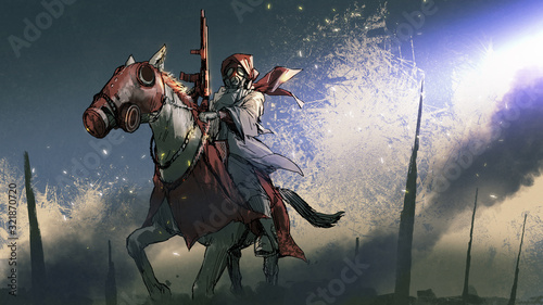 apocalypse warrior in a cloak with gas mask holding a gun sitting on horseback, digital art style, illustration painting