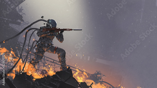 the futuristic soldier aiming his gun at the enemy against the battlefield background, digital art style, illustration painting