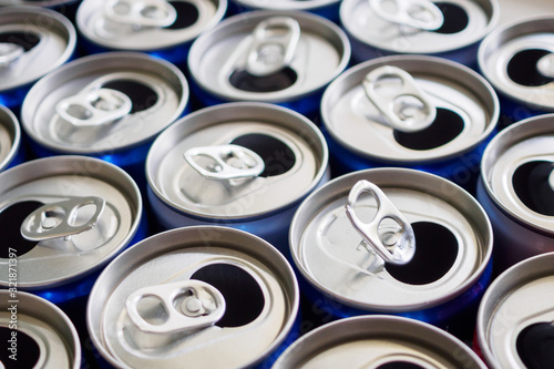 Fototapeta Empty aluminium drink cans recycling background concept obraz
