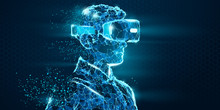 VR Headset Holographic Low Pol...