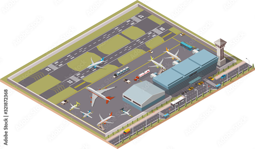 Fototapeta Airport Infographic vector isometric design elements. Map of the city's airport. Terminal, airport traffic, control tower, hangar, departure jet, airplanes, ground support vehicles and workers, runway