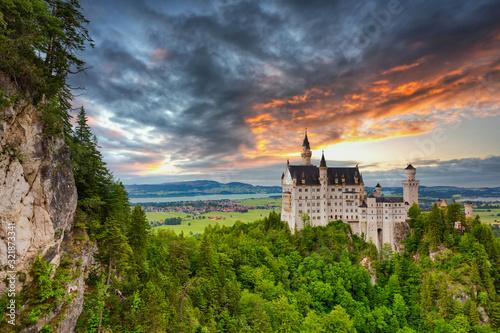 Fototapeta Neuschwanstein Castle in the Bavarian Alps at sunset, Germany obraz