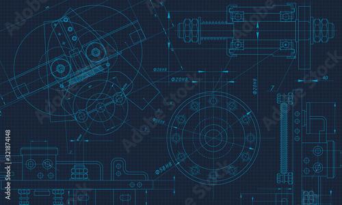 Obraz Mechanical Engineering drawing. Engineering Drawing Background. Vector Illustration. - fototapety do salonu