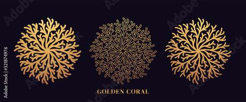 Golden reef coral by round shape. First set of gold coralline silhouettes