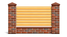 A Red Brick Fence With Wooden ...