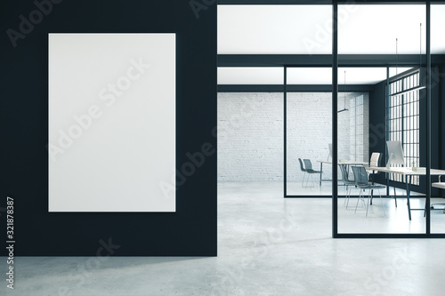 Obraz Contemporary coworking office with empty poster - fototapety do salonu