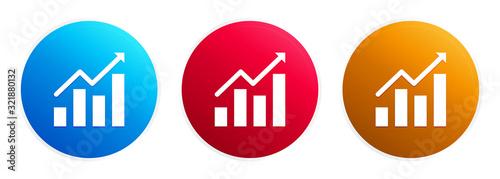 Cuadros en Lienzo Statistics icon premium trendy round button set