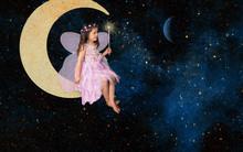 Fantasy Little Girl Fairy Sitt...