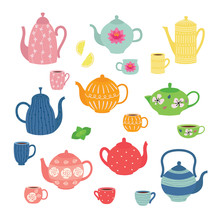 Hand Drawn Teapot And Cup Collection. Colorful Tea Cups, Coffee Cups And Teapots Isolated On White Background.
