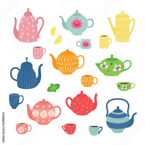 Fotografie, Obraz Hand drawn teapot and cup collection
