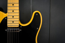 Close-up Of Classic Electric Guitar, Neck With Frets, Microphone And Steel Strings