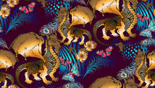 Seamless Pattern. Dragon And N...