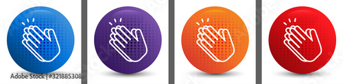 Hands clap icon abstract halftone round button set Wallpaper Mural