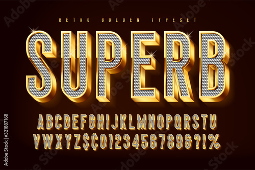 Photo Golden 3d shining font, gold letters and numbers