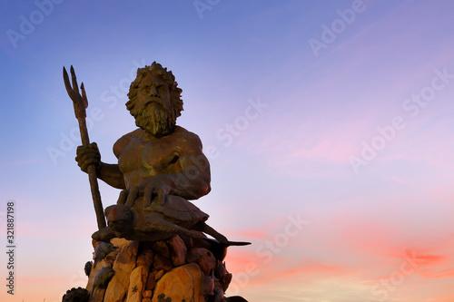 The King Neptune Statue at Virginia Beach Before Sunrise. Wallpaper Mural
