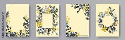 Fotografía Hand drawn herb twigs, tree branches, leaves floral invitation cards templates