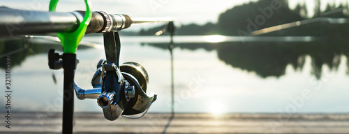 Fotografía Carp fishing on beautiful blue lake with carp rods and rod pods in the summer morning