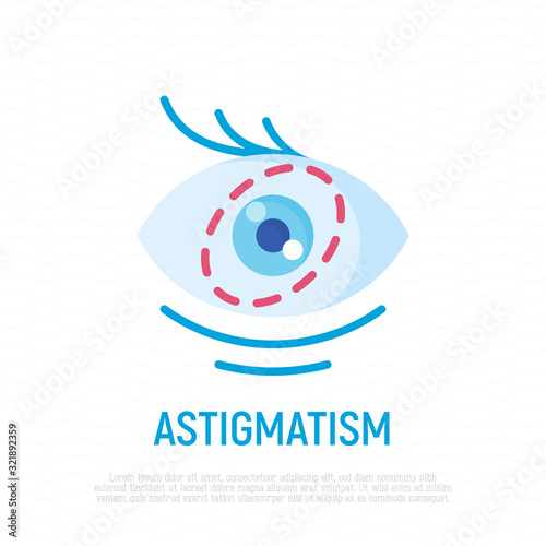 Astigmatism flat icon. Ophthalmology vector illustration. Canvas Print