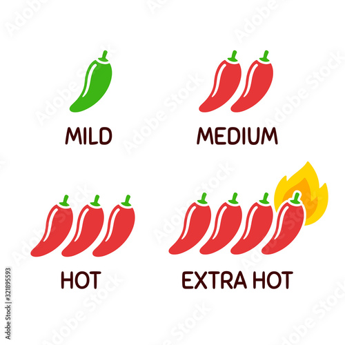 Chili peppers icon set Canvas Print