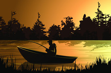 Vector Image Of A Fisherman On...