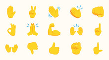 All Hand Emojis Gestures Vecto...