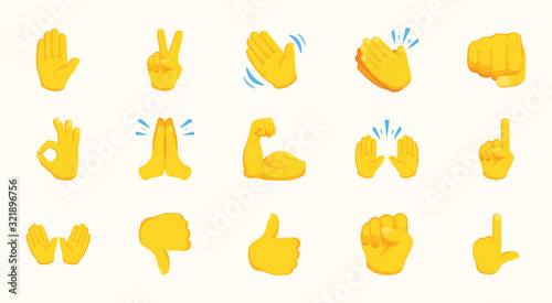 Canvastavla All Hand Emojis Gestures Vector Icons Set