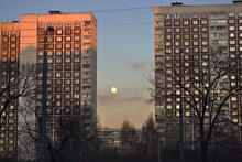 Winter City Evening Landscape With Full Moon