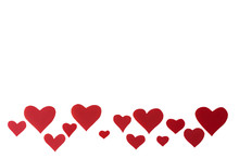 Red Hearts On A White Backgrou...