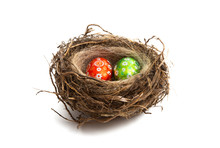 Easter Eggs In Nest Isolated