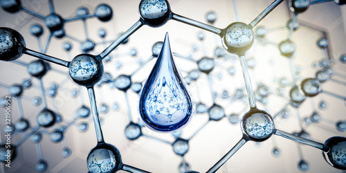 Fototapeta Wassertropfen und transparente Molekülstruktur - Nanotechnologie obraz