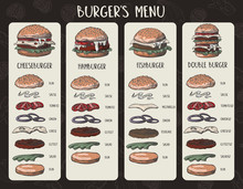 Burger Menu With Composition Of Products In Graphic Style.