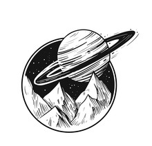 Space Landscape.Galaxy Scene. Black Vector Illustration With Transparent Background. Great For Print, Tattoo Flash