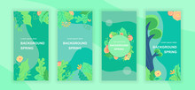Spring Abstract Social Media Stories Design Templates Vector Set, Backgrounds With Copyspace - Greenery, Landscape - Backdrop For Vertical Banner, Poster, Greeting Card - Spring Nature Concept