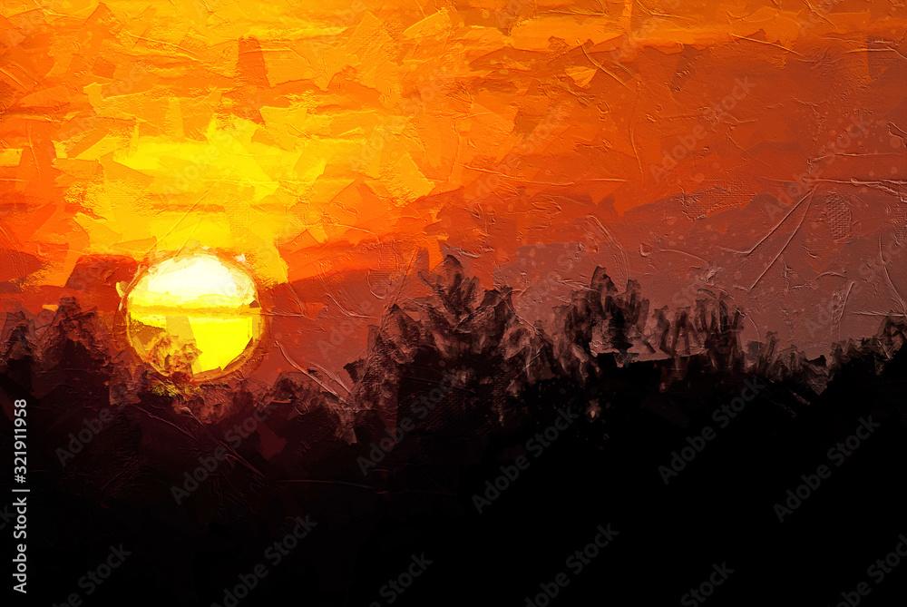 Fototapeta Impressionistic Style Artwork of the Sun Setting in a Smoky Western Sky