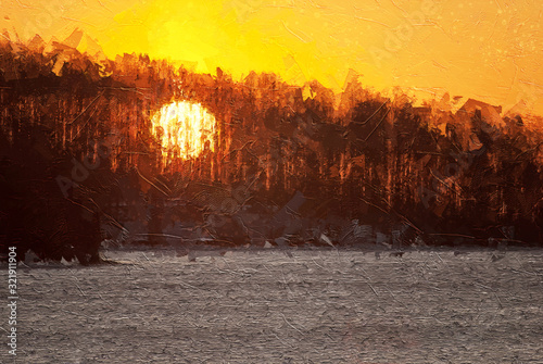 Photo Impressionistic Style Artwork of a Sunrise Through the Trees