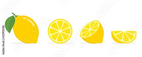 Fresh lemon fruits, collection of vector illustrations Fototapete