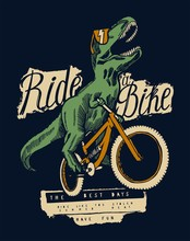 T-rex Dinosaur Riding Bicycle In Sunglasses And Laughing - Summer Sports T-shirt Print Design - Vector Illustration
