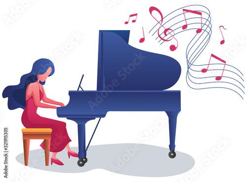 Fotografía Piano Girl on White