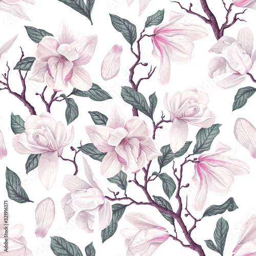 Fototapeta Floral seamless pattern with white Anise magnolia flowers, leaves and petals on white background
