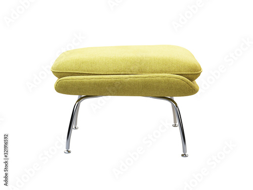 Fotografia Mid-century yellow fabric ottoman with chromium legs. 3d render.