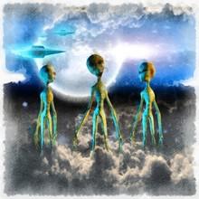 Surreal Painting. Three Aliens...