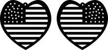 Usa American Flag In Heart Shape Earrings Svg Cut File Vector File