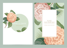 Wedding Invitation Card With Camellia In Vintage Style. Pink Flowers On A Green Background. Vector Template For The Invitation, Shop, Beauty Salon, Spa.