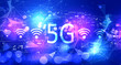 Leinwanddruck Bild - 5G network with technology blurred abstract light background