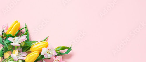 Fototapeta Pink banner with spring flowers and lights, festive composition for spring holidays obraz