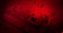 Red Polygonal Hearts Falling O...