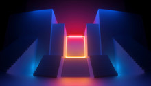3d Render, Abstract Red Blue B...
