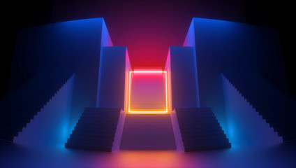 3d render, abstract red blue background, glowing yellow square shape, neon light. Empty frame. Architectural urban retro scene, staircase perspective. Simple geometric design. Futuristic concept
